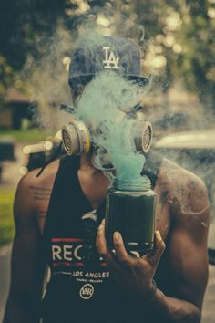 Self portrait #urban #bizarre #warfare #smoke #photography #mask #gas