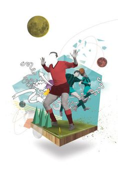 Nazario Graziano / Colagene Guide 2014 / Colagene.com #game #futuristic #soccer #illustration #vintage #play #sport #football #collage #drawing #moon