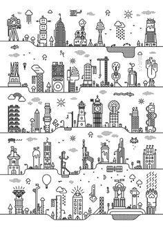 Cityville on Behance #illustration #timeasley