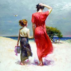 pino daeni paintings #illustration #oil #painting #girl #woman #mother #beach #sand #coast #beauty #landscape #red #dress