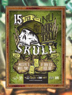 Skull nite flyer by Overloaded Design #greener #rosario #lettering #army #argentina #war #helmet #swat #retro #design #dogtags #bullets #typographic #riot #vintage #overloaded #type #skull