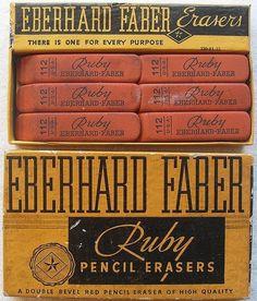 swissmiss | Vintage Eberhard Faber Ruby Erasers #1940s #montone #christian #faber #box #by #eraser #vintage #eberhard #ruby