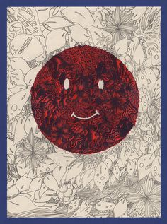 smile, face, illustration, red, floral #red #floral #smile #illustration #face