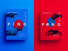 Ping pong, bold, typography, blue, red
