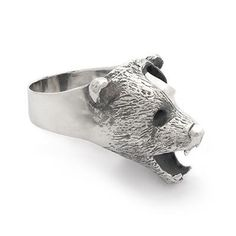 Bear Ring | Captve Jewellery #carving #sculpture #silver #hand #carved #jewellery #925 #jewelry #sterling #bear #skull #ring