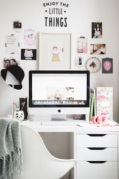 Fun + Feminine Desk Organizing #workspace #home office