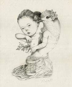 Waktu Membatu on Behance #girl #bird #illustration #surreal #pencil