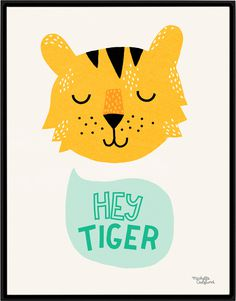 #nordic #design #graphic #illustration #danish #simple #nordicliving #living #interior #kids #room #poster #tiger #hey #yellow #green
