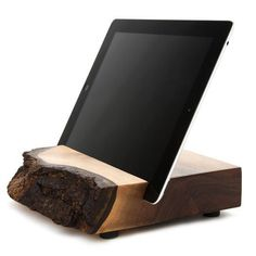 Wood iPad standavailable in black walnut or maple/elm. C. Everett Block and his sons rescue imperfect pieces of Oregon hardwood, transform