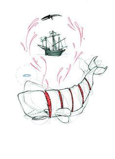 How - Natasha Muhl #illustration #ship #whale #mobydick