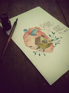coração #heart #nankin #illustration #watercolor #love