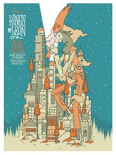 Kings of Leon Concert Poster by Invisible Creature #illustration #poster