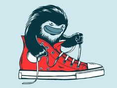 Dribbble - Shoe Monster Tee by Oleg Milshtein