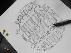 Married, invite, invitation, hand lettering, lettering, pencil, thai, intricate, equisite