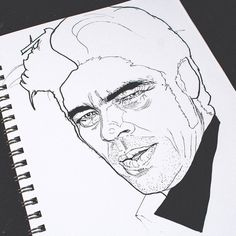 Benicio Del Toro - Pen & Ink illustration by Timothy McAuliffe. Gold Van™