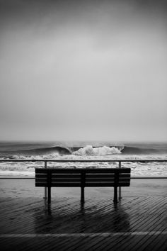 Lincoln's Bench #ocean #white #black #bench #photography #sea #and #beach #waves