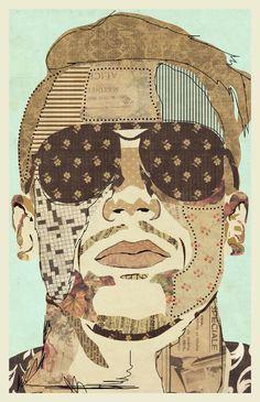 """""""Macklemore"""" www.KyleMosher.com #illustration #art #kylemosher #vintage #newspaper #hiphop #portrait #rap"""