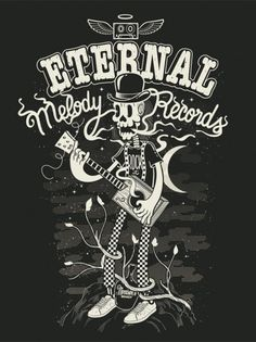 Eternal Melody records on the Behance Network #white #black #shirt #illustration #and
