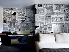 DECObloog Pokój tonący w ilustracjach #illustration #interior #hotel #wall painting #timothy goodman