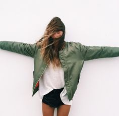fashion, green coat, girl