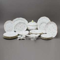 HEREND dinner service for 6 persons 'scattered flowers', 20. Century #porcelain