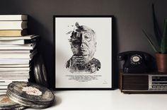 hitchcock, movie, poster, design, illustration, ink