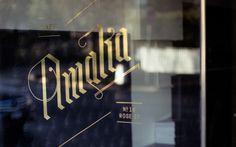 Café Amalia — Tom Clayton / Swear Words #branding #window #identity #gold #signage #decal #foil #typography