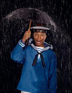 Numéro Magazine - Tel est Pharrell Interview exclusive avec la superstar Pharrell Williams. Portraits Jean-Paul Goude. #umbrella #williams #goude #numero #pharrell #cover #rain #navy #marine #jean #magazine #paul