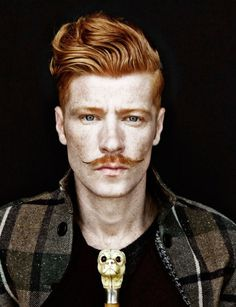 Young Conan O'Brien with Nick Wooster Haircut During Movember #headshot #portrait #men #key #lighting #ginger #high