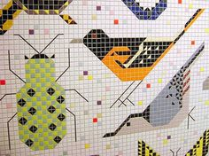 Charley Harper Mosaic Mural in Cincinnati Visualingual | Apartment Therapy Chicago #colourful #bird #insect #illustration #mosaic #animals