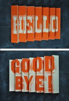 Hello / Goodbye 3D poster by Manvsink on Etsy #print #design #graphic #typography