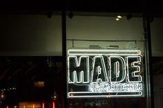 We just rebranded Roundhouse's 'MADE Bar & Kitchen'www.them.co.uk #white #red #sign #made #black #restaurant #brand #napkin #logo #neon