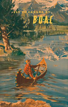canada, airline, poster, illustration