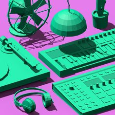 Low Poly Objects Art Print at Søciety6 #3d #cgi #cg #cinema4d #render #studio #turntable #fan #cactus #synthesizer #music #dj #pendant