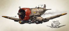 concept ships: Christian Pearce concept ships #old #aircraft #concept #distressed #propeller