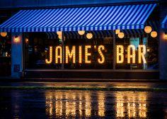 jamie, bar, lights, letters, blue, italian