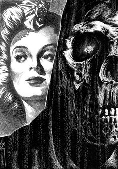 Virgil Finlay - 105 #skeleton #woman #illustration #demon #skull #death
