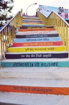 Okhaldhunga Mural for Kolor Kathmandu #typography #street art #mural #nepal #stairs mural #nepali #kathmandu #kolor kathmandu