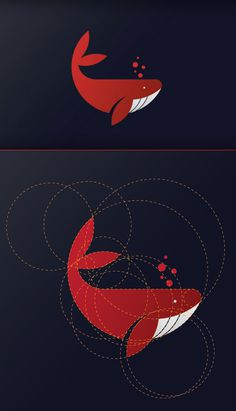 Whale Logo Design with Golden Ratio