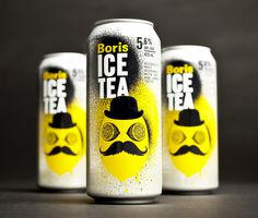 boris ice tea 1 #packaging #yellow #illustration #paint #tea #spray
