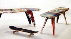 recycled skateboard bench 48 Two seater by deckstool on Etsy #design #product #skateboard #bench #seat