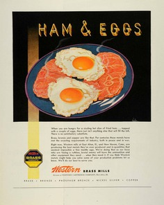 1944 Ad Western Brass Mills World War II Metal Industry Ham Eggs Plate Art FZ6