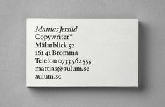 Mattias Jersild by BVD #bvd #businesscard #stationary