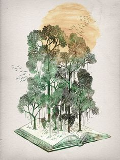Tumblr #watercolor #book #tree