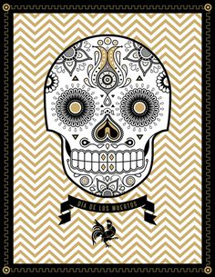 day of the dead skull v2.jpg #rooster #of #black #flowers #the #ribbon #delicate #gold #poster #day #dead #skull #decoration