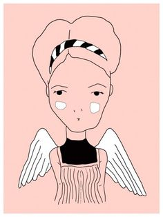 Augustine by Amanda #line #girl #illustration #portrait #cute #wings