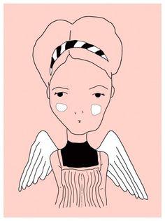 Augustine by Amanda #line #girl #illustration #portrait #cute #wings