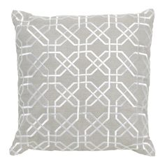 Imogen Silver Hexagon Stitch Linen Square Cushion, 50 cm
