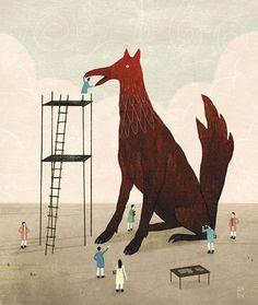 Google Reader (1000+) #illustration #bird #dog
