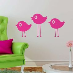 Eclectic Trio of Birds Wall Decal #birds #wall #decals